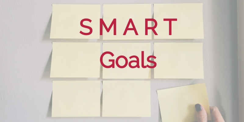 """Yellow Post-It notes on a wall with caption """"SMART Goals"""""""