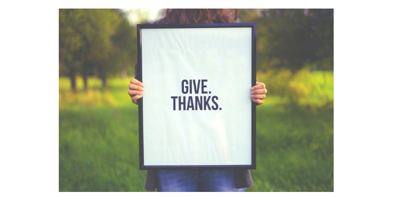 """Person standing in a green field with trees in the background holding a sign that says, """"Give. Thanks."""""""