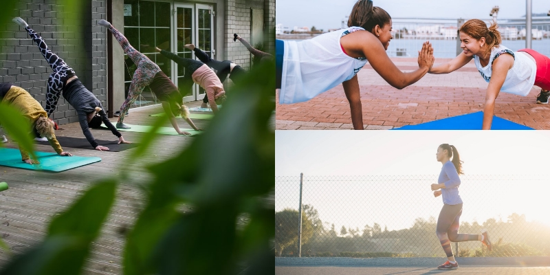 Three images: Left side is of outdoor group yoga class; Upper right is two female exercising together; bottom right is female running alone