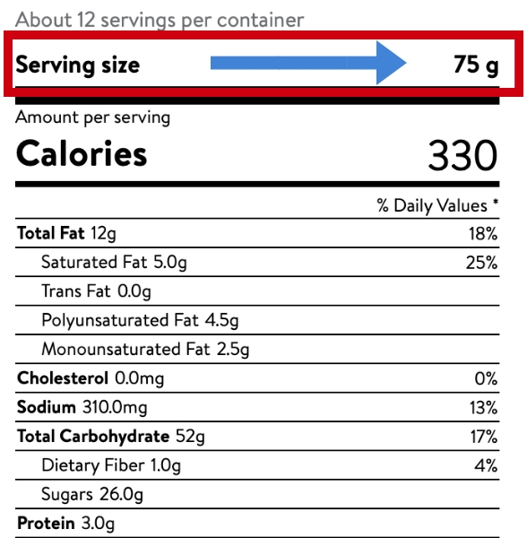 Display serving size