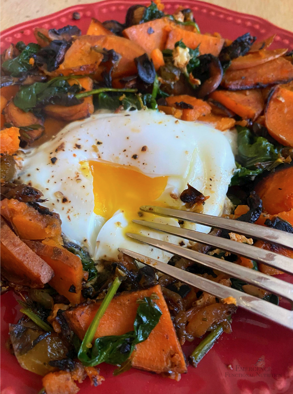 Vegetable hash on red plate